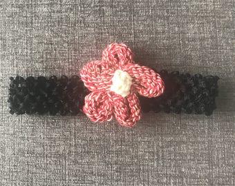 Knit flower baby headband