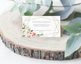 Editable Template - Instant Download Geometric Spring Romance Diaper Raffle Card