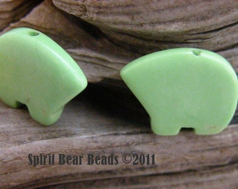 Pistachio Zuni Bears Just like the Ice Cream One Pair  make your own Dreamcatchers earrings Teen Size 12 x 18 mm