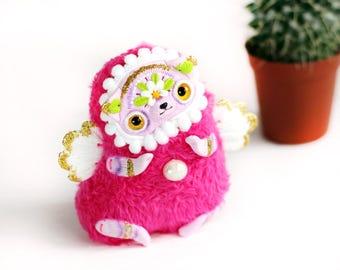 cat doll ooak toy polymer clay cat plush soft pink cat figurine sculpture cat art cute cat doll