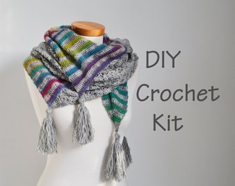 DIY Crochet Kit, Crochet shawl kit, ARROW, yarn and pattern