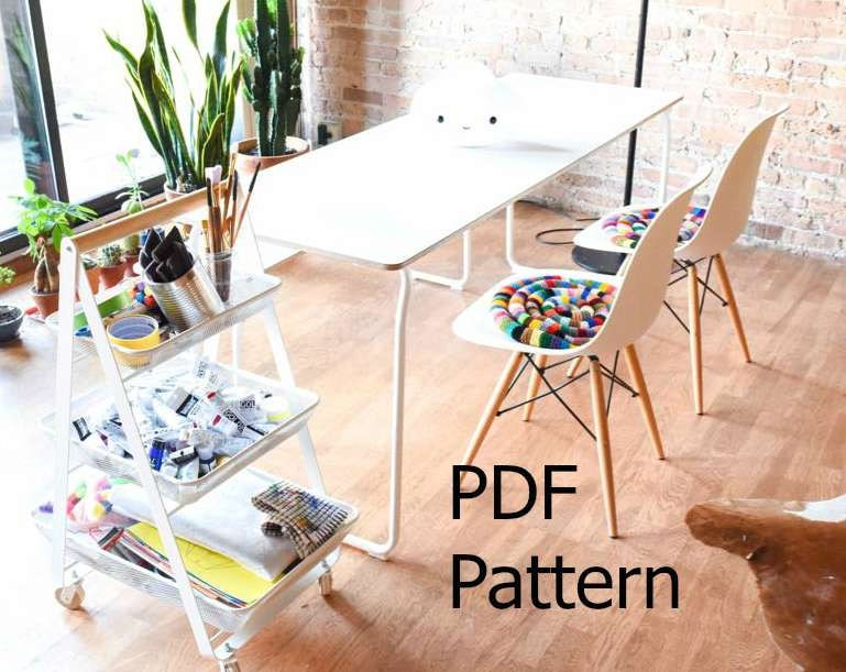 Knitted Chair Pad PDF Pattern Egg Chair Pillow Knitting