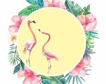 flamingos, tropical flowers, exotic birds and flowers, original watercolor's art, download art