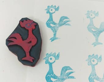 Rubber stamp hei hei, rooster hand crafted stamp, hei hei stamp, rubber stamp , hand carved stamp, custom stamps.