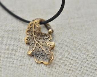 Oak leaf. Bronze or Brass pendant