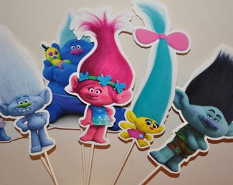 Trolls Large Centerpiece toppers sets of 6