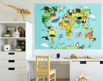World map decal etsy world map wall decal world map wall sticker jungle animals themed world map for kids room playroom world map wall sticker peel and stick gumiabroncs Choice Image