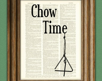 CHOW TIME Dinner or Supper bell sign beautifully upcycled dictionary page book art print