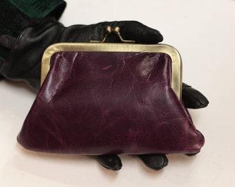 Large Miriam Purple Kiss Clip Leather