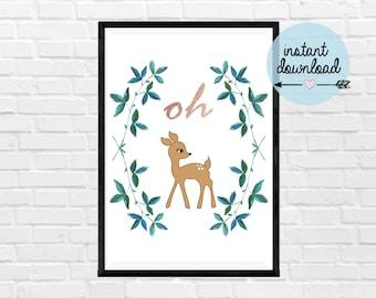 Oh Deer Print - Instant Download Print - Printable Art - Typograpy