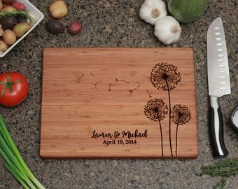 Personalized Cutting Board - Dandelion Design, Personalized Wedding Gift, Cutting Board, Wedding Gifts, Bridal Shower Gift, Anniversary Gift