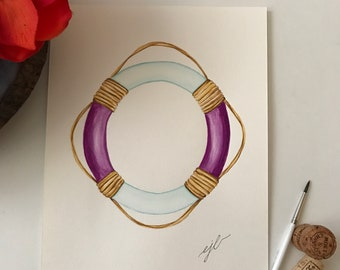 """Purple lifesaver. An original watercolor painting on 90 lb. cold press paper. Size 9""""x 12"""" signed on front."""