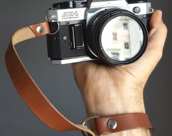Leather camera wrist strap personalised for free