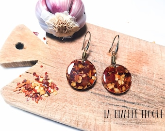 Pendant earrings with red hot pepper seeds, good luck gift, gift for foodie, natural jewelry