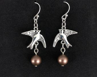Monty Python and the Holy Grail African and European Swallow Earrings - Coconuts included || .925 Sterling Silver Hooks || gift for her