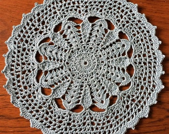 "9.5"" Blue Crocheted Doily"