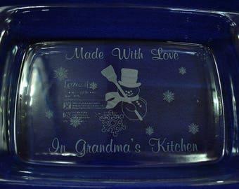 Christmas Gifts ~ Christmas Gift For Grandma ~ Engraved Christmas Gifts ~ Custom Baking Pan ~ Snowman Gift ~ Neighbor Gift ~ Gift For Friend