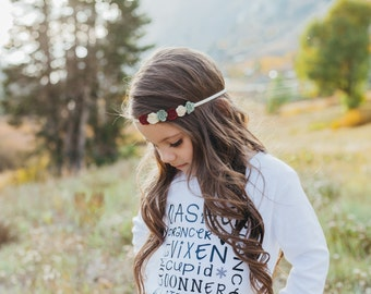 Felt flower headband : newborn/baby/toddler headband - photo prop - christmas headband