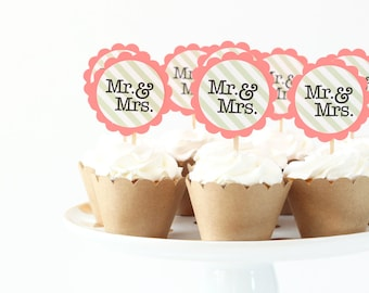Wedding Cupcakes Mr and Mrs Toppers Kraft Paper Coral Party Supplies Bride and Groom Cake Topper Shabby Chic Wedding Paper Party Supplies