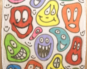 Smiley-face baby blanket #014