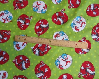 Green Dr Seuss Cat in the Hat Christmas Cotton Fabric by the Half Yard