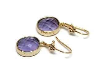 NEW! Earrings with Amethyst Crystal jewel, emerald, boho, modern, high fashion, rocker, party, dangle, - Free shipping!