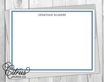 Men's Stationery - Stationary - Flat Note Cards - Masculine Simple Navy Blue Preppy Border Gray Business Husband Gift Idea Thank You Cards