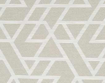 Taupe Geometric Upholstery Fabric - Neutral Home Decor Fabrics - Modern White Upholstery Fabric - Taupe White Pillow Covers - Custom Pillow