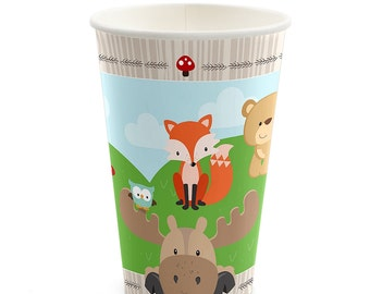 Woodland Hot/Cold Cups - Woodland Creatures Baby Shower or Birthday Party Supplies - Woodland Animal Cups - Forest Friends - 8 Ct.