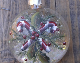 Candy Cane Christmas Ornament, Hand Painted