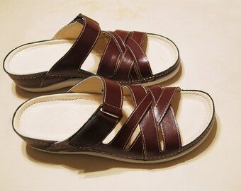leather slippers in brown, biolife slipper, comfortable slippers, insole with leather, upper leather