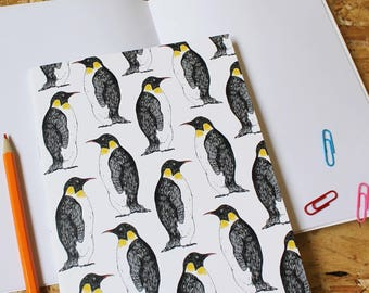 Penguin Notebook -  blank notebook- stocking filler - a5 notebook - cute notebook -christmas gift - penguin gift - bird journal - penguin -