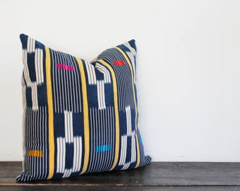 Vintage Woven Ikat Stripe Indigo and Cream Textile Throw Pillow