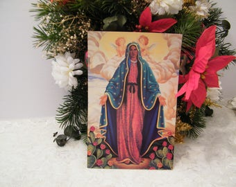 Our Lady of Guadelupe Original vintage large postcard, in new not used condition, religious card suitable for framing, Catholic art,  8 x 5