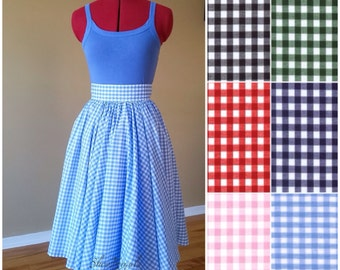 Blue gingham skirt, 50s vintage inspired, custom made, knee length, high waisted, full circle