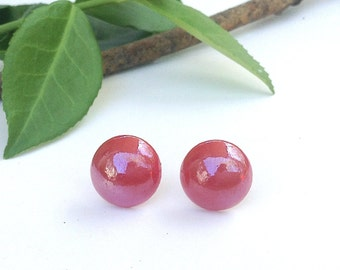 Red Stud Earrings; FREE SHIPPING, Cherry Red, Round Studs, Stainless Steel Posts, 12mm Ceramic Circle, Bright, Shiny, Colorful, Bright, Xmas