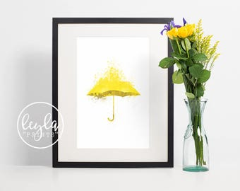 How I Met Your Mother Print - Yellow Umbrella | A6/A5/A4/A3 Minimalist Art Print | HIMYM TV Poster | For Him, For Her