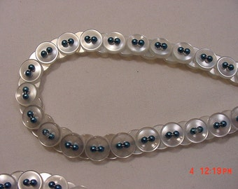 Vintage White Buttons Necklace With Metallic Blue Accent Beads  16 - 730
