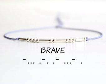Inspirational Silk Cord Bracelet Minimalist Motivational Jewelry Brave Morse Code Sterling Silver Bead Stack Bracelet