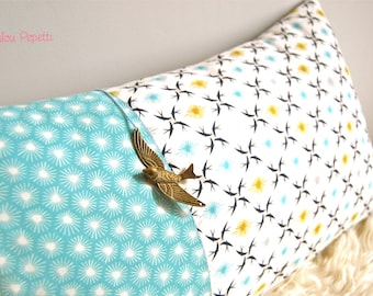 Organic swallows - turquoise and Navy Cushion cover