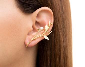 Elf ear cuff earring earring with pearl, gold ear climber earring, hypoallergenic earring, gold earcuff, rose gold ear crawler