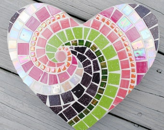 Babydoll Heart Pink and Purple Mosaic Heart Stepping Stone  MOO5046