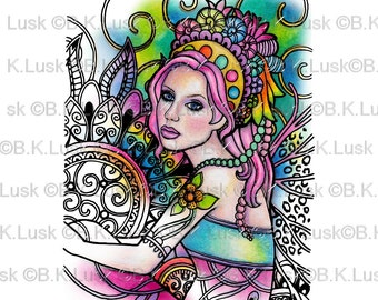 B. K. Lusk - Digital Download Digistamp- Clipart Zentangle Mermaid Fairy Carousel Coloring Page - Tattoo Flash Scrapbook Craft Art
