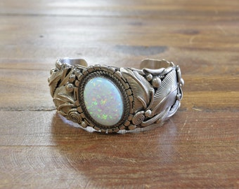 Vintage Southwestern Lab Opal Sterling Silver Cuff Bracelet