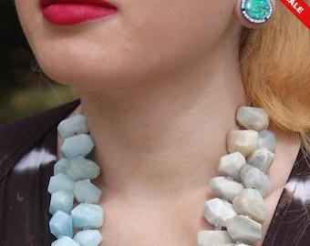 "Sale -  Aquamarineand Moonstone NuggetNecklace - Gemstone Necklace - ""Ocean Wave"""