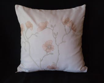cotton cushion, linen, embroidered eco friendly, 40x40cm