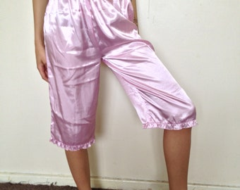 Vtg 80's DOLLY ROMANTIC baby pink frilly satin bloomers S/M
