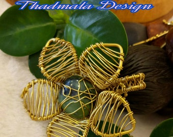 Brass wires woven floral necklace