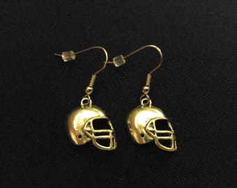 FOOTBALL HELMET Charm Earrings Stainless Steel Ear Wire Silver Metal Unique Gift