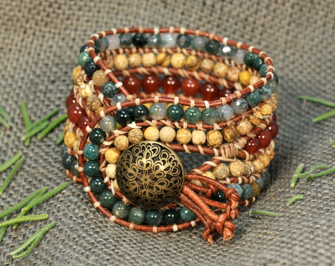 Astarti * 5 strand Statement Wrap Bracelet. Boho Style. Bohemian Jewelry. Semiprecious stones. Gift for her. Unique Design.